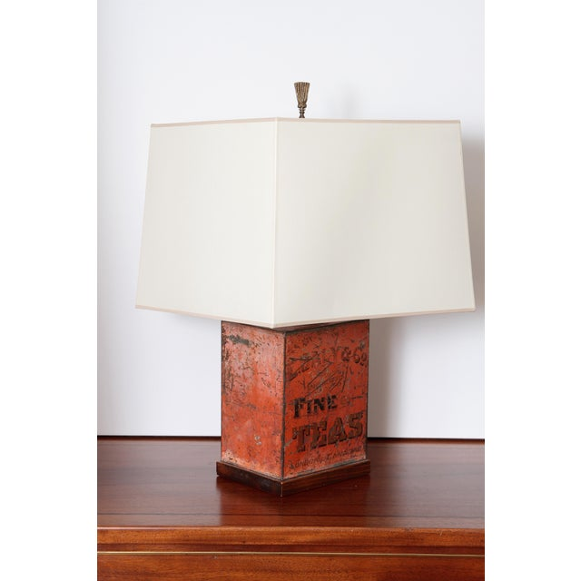 Rustic Antique Fine Teas Table Lamp For Sale - Image 3 of 8