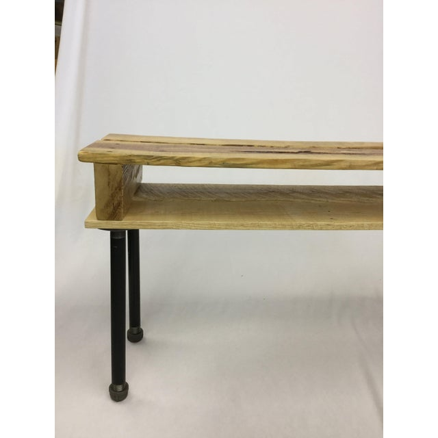 Pallet Wood Hand Finished Narrow Hallway Bench For Sale - Image 12 of 12