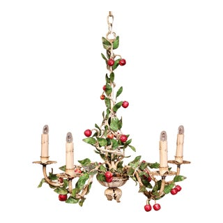 Early 20th Century French Painted Iron and Tole Chandelier With Cherries & Leaves For Sale