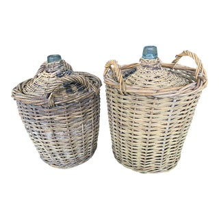 Country Water Wine Glass Jugs Wrapped in Basketweave - a Pair For Sale