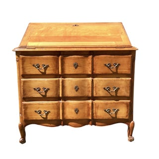 French Country Petite Desk With Tooled Leather Top For Sale
