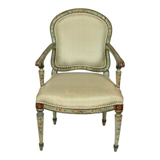 Antique Green Silk Ticking Stripe Polychrome Armchair For Sale