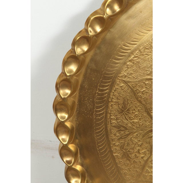 Late 19th Century Vintage Moroccan Etched Brass Round Tray Table For Sale - Image 5 of 6