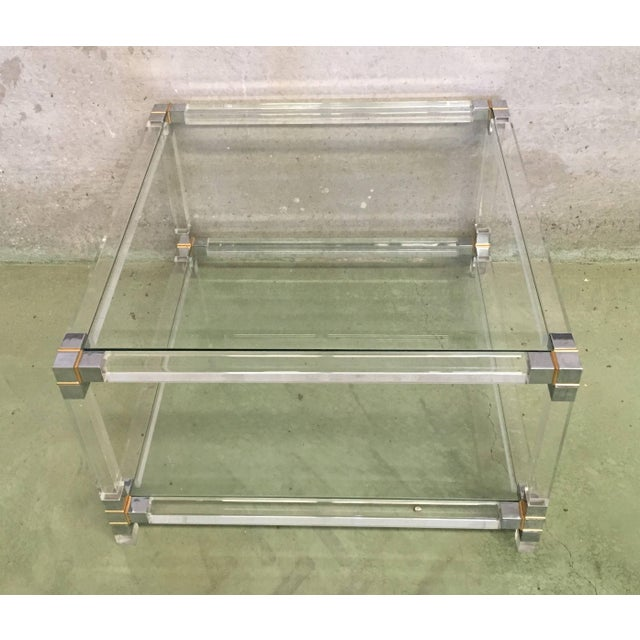 Midcentury Square Lucite Coffee Table With Chromed Metal Details For Sale - Image 12 of 13