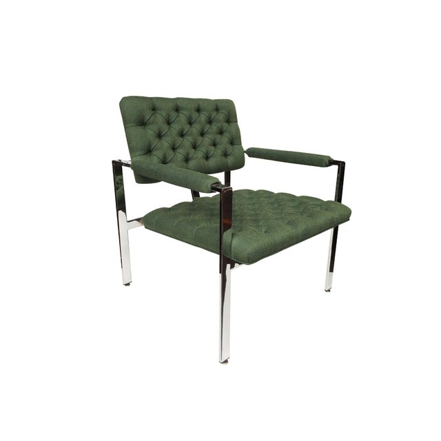 Mid-Century Modern 1960s Flat-Bar Chrome Club Chairs by Milo Baughman for Thayer Coggin - a Pair For Sale - Image 3 of 14