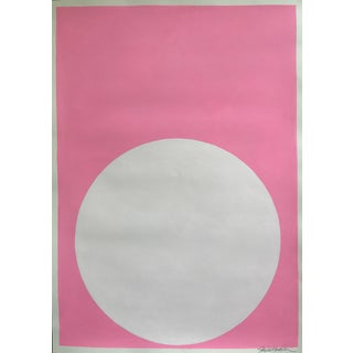 Blush White Dot on Palm Beach Pink Painting For Sale