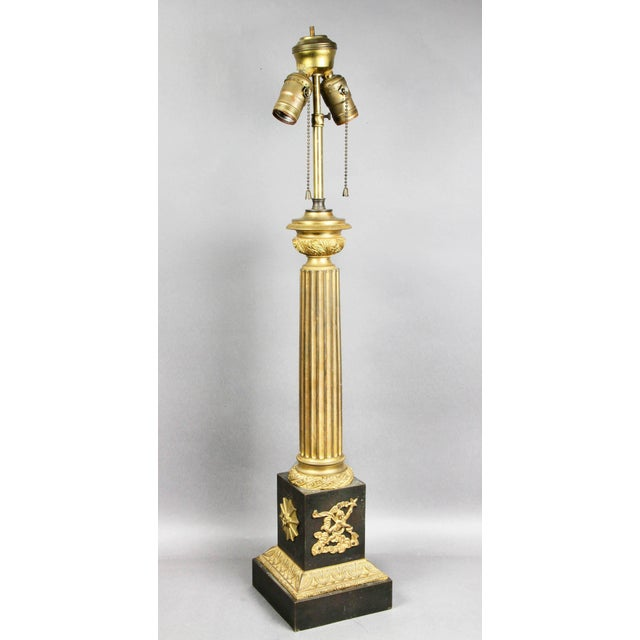 Gold French Empire Patinated and Gilt Bronze Table Lamp For Sale - Image 8 of 8