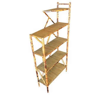 Restored Tiger Bamboo Five-Tier Book Shelf For Sale
