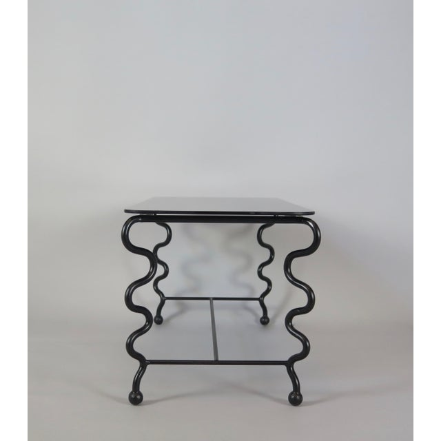 'Serpentine' Coffee Table With Black Glass Top For Sale - Image 9 of 13