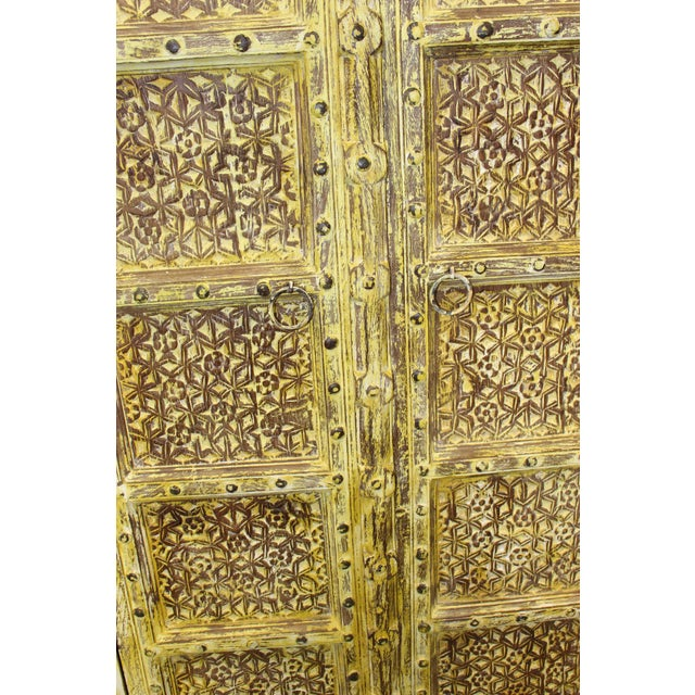 Yellow Vintage Yellow Antique Carved Detail Indian Armoire For Sale - Image 8 of 8