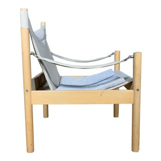 Oak & Canvas Safari Chair, Grainsack Seat, Worts Style For Sale