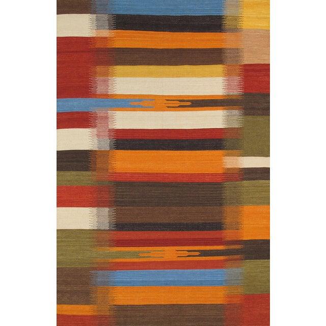 Modern Reversable Orange Wool Kilim - 5' x 8' - Image 1 of 2