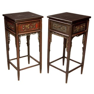 Antique Chinese Hand Carved High Side Tables / Pedestal Stands - a Pair For Sale