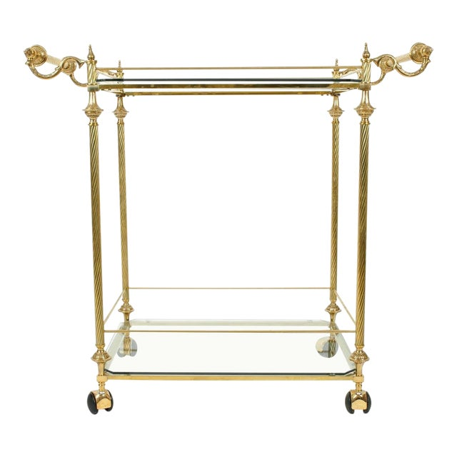 Vintage Solid Brass / Glass Shelves Two-Tier Bar Cart For Sale