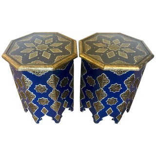 Pair of Moroccan Silver Metal and Brass Inlaid Side Tables in Blue Majorelle For Sale
