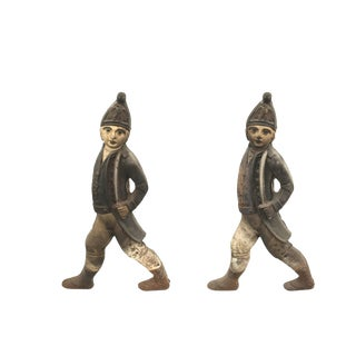 Pair of 20th Century English Georgian Style Soldier Andirons For Sale