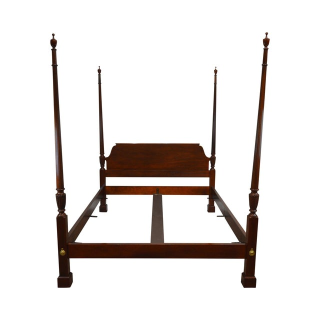 Baker Mahogany Queen Size Chippendale Style Poster Bed For Sale - Image 13 of 13