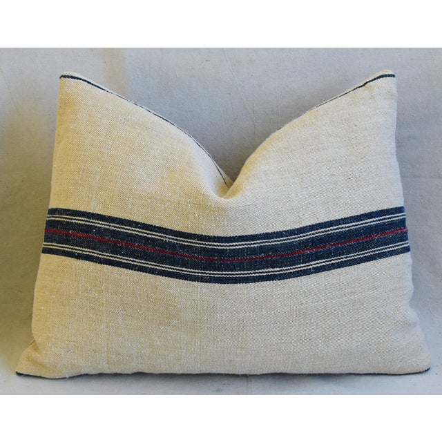 "Early 21st Century French Woven Blue & Red Striped Grain Sack Feather/Down Pillows 24"" X 18"" - Pair For Sale - Image 5 of 13"