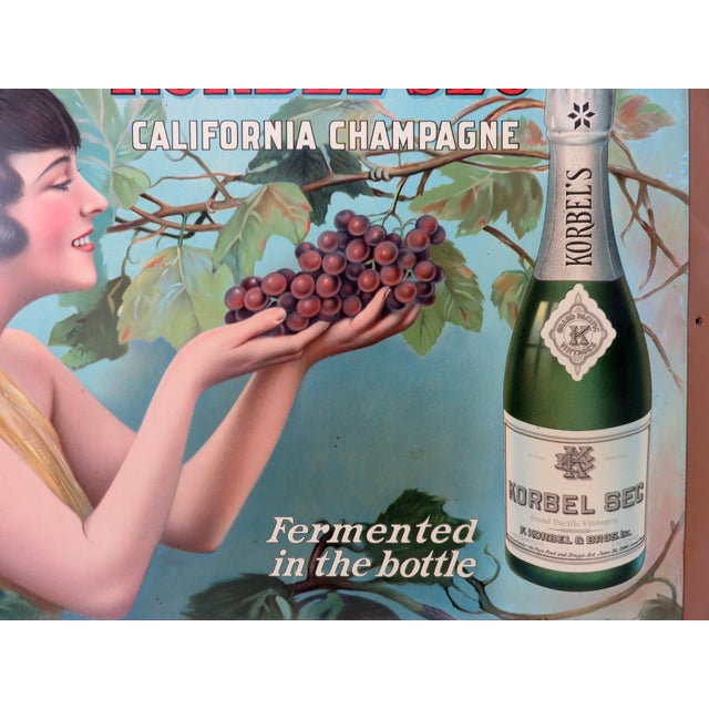 Blue 1920s Antique California Champagne Advertising Sign For Sale - Image 8 of 13