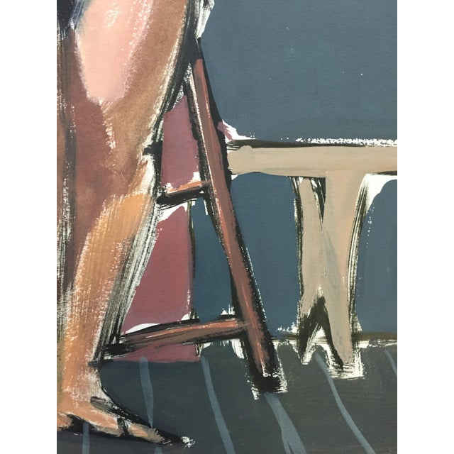 """1950s 1950s Bay Area Figurative Movement Mid Century Painting""""Easel"""" For Sale - Image 5 of 6"""