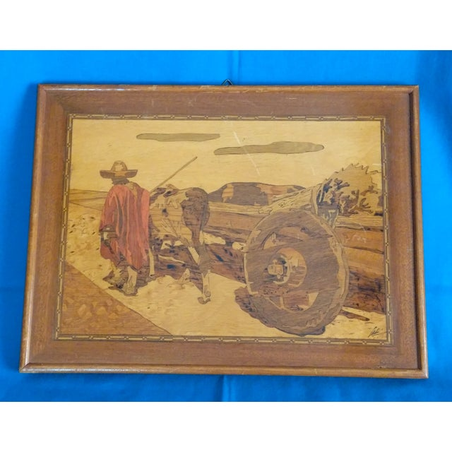 Vintage California arts & crafts era, artist-made inlaid wood picture depicting a native Mexican farmer with his cow cart....
