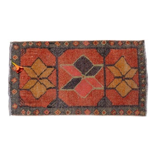 Kurdish Rug Distressed Low Pile Yastik Rug Faded Colors Mat Rug - 20'' X 36'' For Sale
