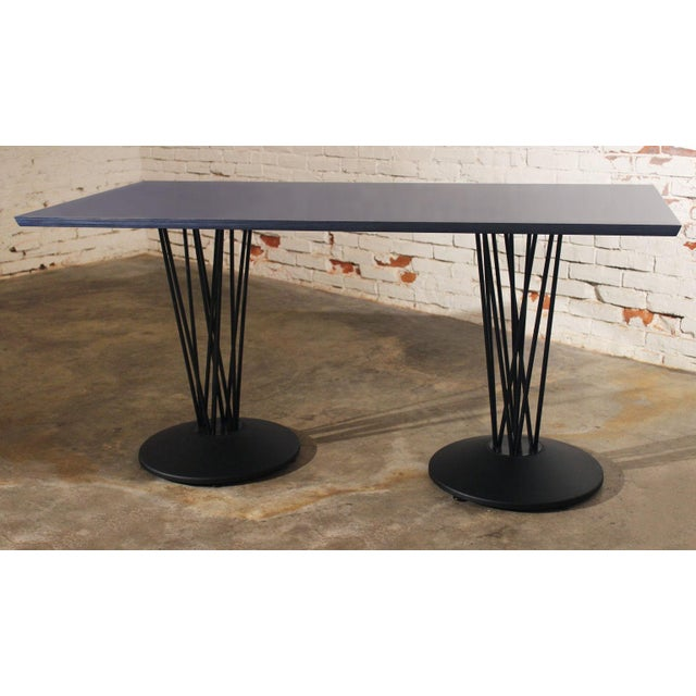 Blue Marquette Double Pedestal Table For Sale - Image 4 of 7