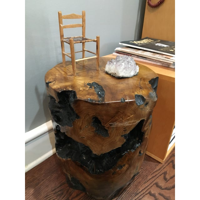2010s Boho Chic Natural Teak Root Wood Side Table For Sale - Image 5 of 8