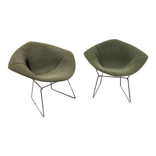 Green Bertoia Diamond Chairs for Knoll - A Pair