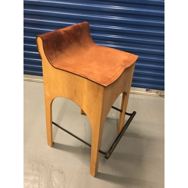 Lostine Wood & Leather Bar Stool For Sale - Image 4 of 4