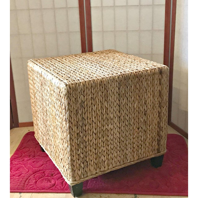 Wicker Rattan Cube Footstool, Table or Seat - Image 5 of 5