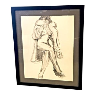 1950s Vintage French Figurative Drawing by J. L. Clemenceau For Sale