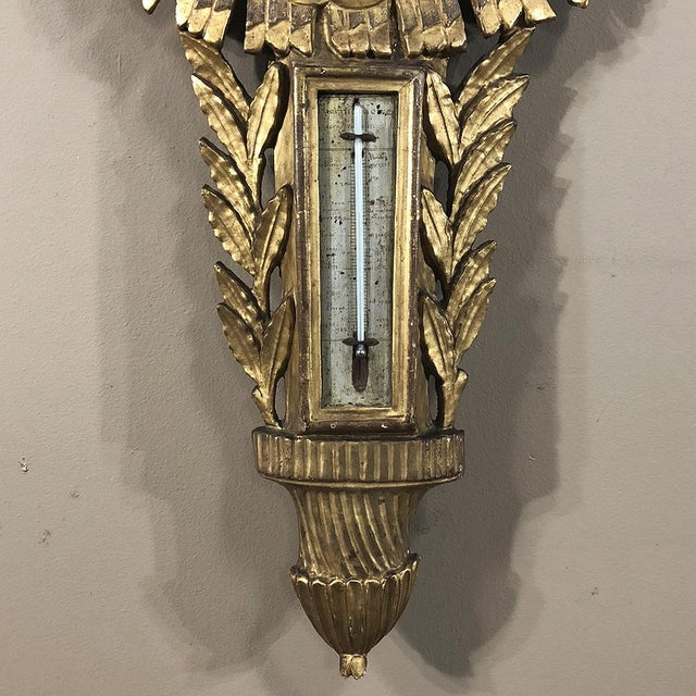 White 18th Century French Louis XVI Giltwood Barometer ~ Thermometer For Sale - Image 8 of 13