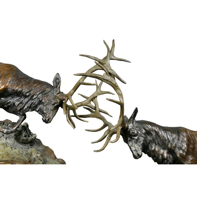 """Realism Western Bronze of Elk """"Forces of Nature"""" by Ken Rowe For Sale - Image 3 of 13"""
