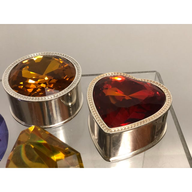 Hollywood Regency Collection of Crystal Gemstone Paperweights & Boxes - Set of 6 For Sale - Image 3 of 9