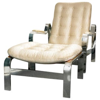 1970s Mid-Century Milo Baughman for Selig Silk and Steel Recliner Lounge Chair and Ottoman For Sale