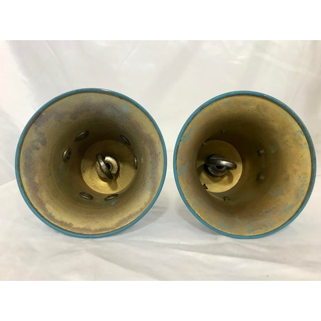 Russian Imperial Blue Bronze Chandeliers a Pair For Sale - Image 12 of 13
