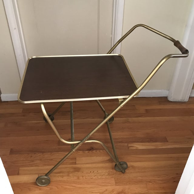 Gold Mid-Century Rolling Serving Tray Bar Cart For Sale - Image 8 of 9