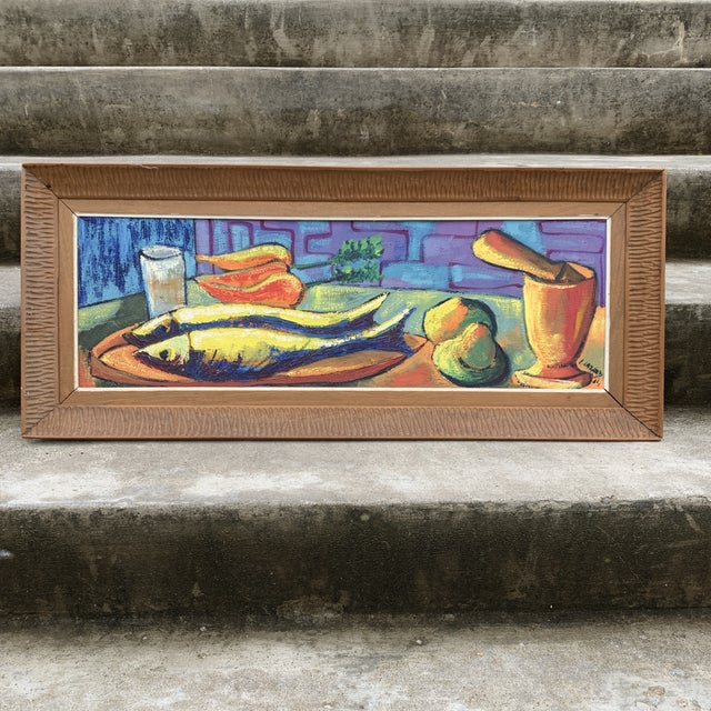 Luckner Lazard Colorful Still Life Painting 1964 For Sale - Image 9 of 9
