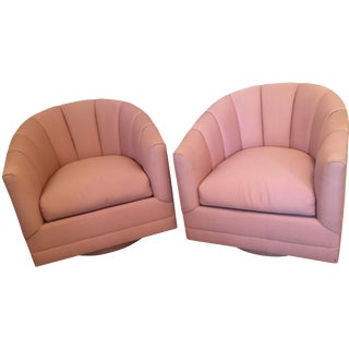 Hollywood Regency Channel Swivel Chairs - A Pair