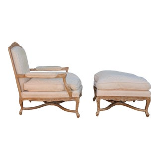 1920's French Style Arm Chair and Ottoman