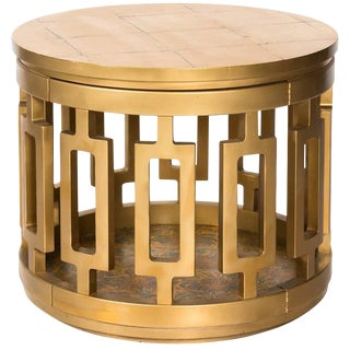 Gilded Midcentury Side Table For Sale