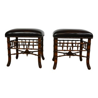Pair of Faux-Bamboo Bench by Theodore Alexander For Sale
