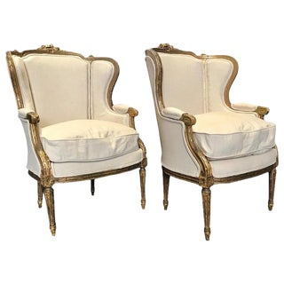 19th Century Antique Giltwood and Upholstered French Wingback Club Chairs- A Pair For Sale