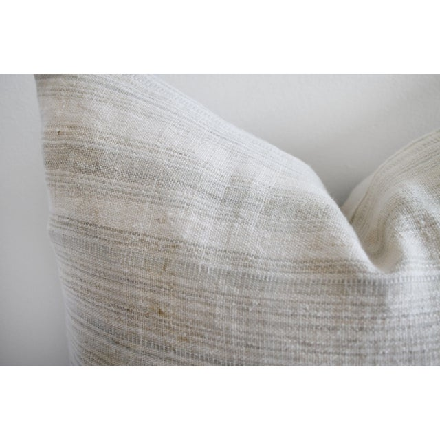 French Country Vintage European Linen Stripe Textile Pillow For Sale - Image 3 of 8