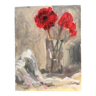 Original Contemporary Still Life Painting Zinnias For Sale