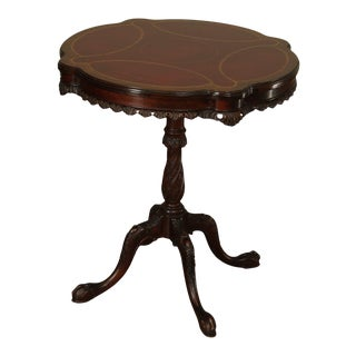 Georgian Style Vintage 1940's Carved Mahogany Leather Top Side Table For Sale