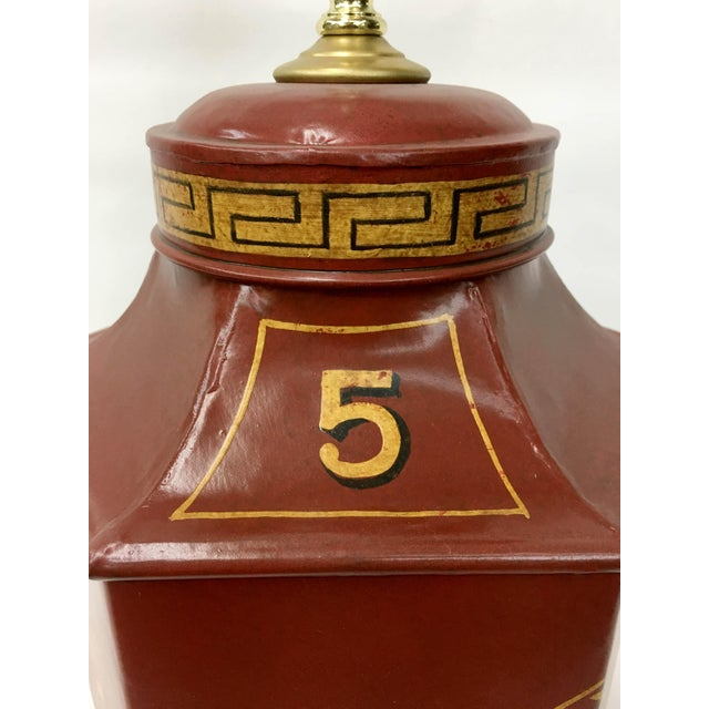 Red Chinoiserie Tea Caddy Lamp For Sale - Image 4 of 5