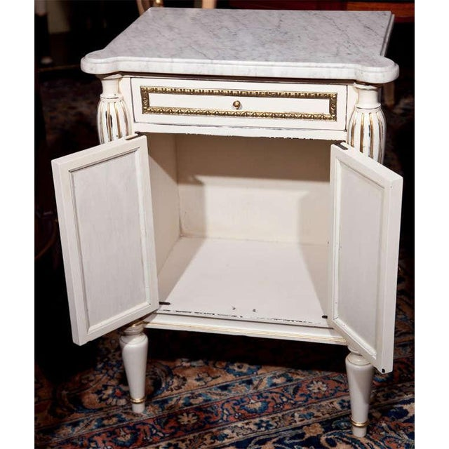 White Painted Marble-Top Cabinets by Jansen - Pair For Sale - Image 9 of 9