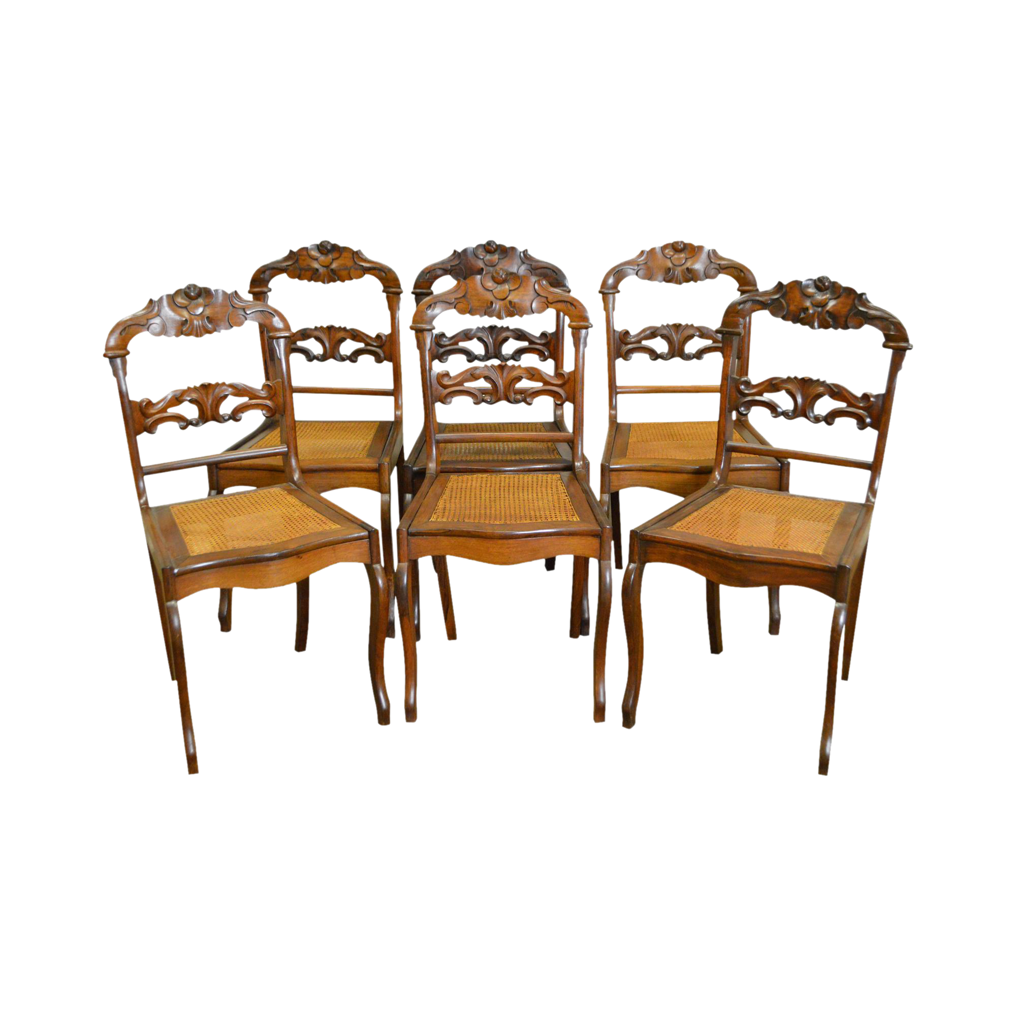 Antique 19th Century Victorian Set Of 6 Carved Walnut Cane Seat Dining  Chairs
